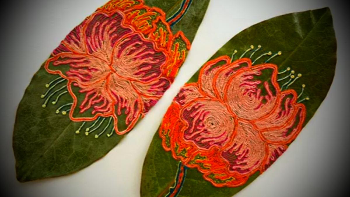 Вышивка листьев
